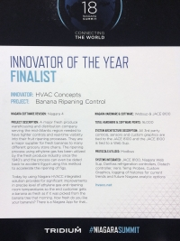 Innovator of the Year Finalist at the 2018 Niagara Summit